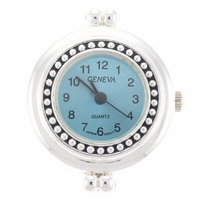 Sky Blue Beaded Round Watch Face