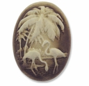 Cameo, Flamingos, Ivory on Brown 39x29mm Oval Cabochon (5PK)