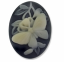 Cameo, Butterfly, Ivory on Black  38x28mm Oval Cabochon (5PK)