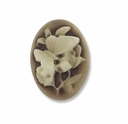 Cameo, Butterfly, Ivory on Brown 25x18mm Oval Cabochon (5PK)