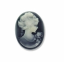 Cameo, Sohpia, Ivory on Black, 25x18mm Oval Cabochon (5PK)