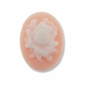 Cameo, Rose White on Lt Coral 26x19mm Oval Cabochon (5PK)