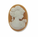 Cameo, Sarah, White on Beige 27x20mm Oval Cabochon (5PK)
