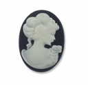 Cameo, Sarah, White on Black 27x20mm Oval Cabochon (5PK)