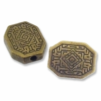 Antiqued Brass 9x12mm Decorative Flat Oval Beads (10PK)