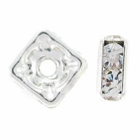 6mm Crystal Silver Plated Squaredelle (5PK)