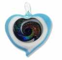 Murano Lampwork Glass 50mm Inner Dichroic Swirl  Heart Pendant (1PC)