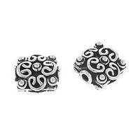 10x10mm Sterling Silver Bali Square Sterling Silver Bead (1PC)