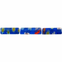 Navy Puffed Tube 4x13mm Millefiori Beads (1 Strand)