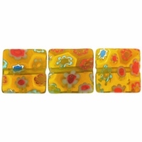 Yellow multi color Puffed Square 10x10mm Millefiori Beads (1 Strand)