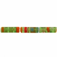 Green Puffed Tube 4x13mm Millefiori Beads (1 Strand)