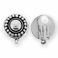 Antique Silver Beaded Clip (1pr)