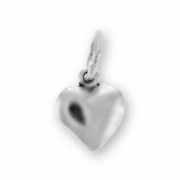 Solid Small Puffed Heart Sterling Silver Charm