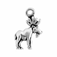 Sterling Silver Small Moose  Charm