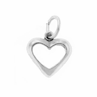Small Open Heart Sterling Silver Charm