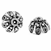 Fancy Sterling Silver Bali Style Bead Cap 8mm (1PC)