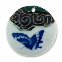 Ceramic 57mm Round Painted Butterfly Pendant (1PC)