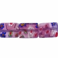 Glass Millefiori 10x8mm Purple Flat Rectangular Beads 16-Inch Strand
