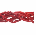 Red Coral Bamboo Branch Beads 15 Inch Strand