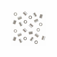 2X2mm Silver Filled Crimp Beads  (20PK)