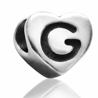 7mm Heart Letter G Bead