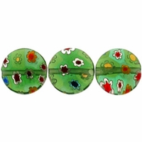 Green Puffed Button 10x10mm Millefiori Beads (1 Strand)