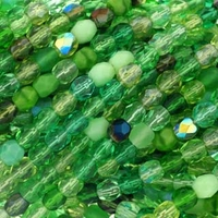 4mm Green Mix Czech Fire Polished Round Glass Beads (50PK)