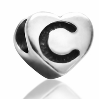 7mm Heart Letter C Bead