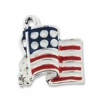 Silver Plated American Flag Enameled Charm