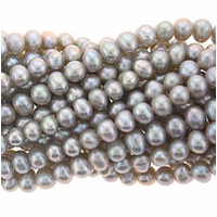Silver Potato Freshwater Pearl 4-4.5mm Bead Strand