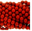 5mm Red Coral Bamboo Round Beads 15 inch Strand