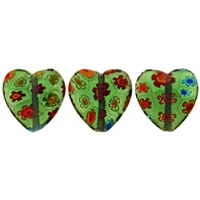 Green Puffed Heart 12x12mm Millefiori Beads (1 Strand)