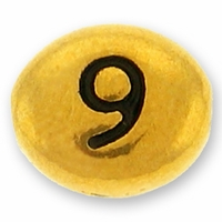 Antique Gold Number Bead 9