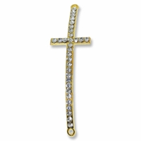 Gold Plated Brass Rhinestone 53mm Cross Link (1PC)