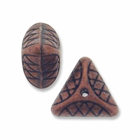 Antiqued Copper Decorative 9mm Puff Triangle Bead (5PK)