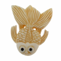 Hand Carved Bone 36mm Fish Bead (1PC)