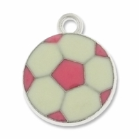 Silver Plated Pink and White Soccer Ball Charm