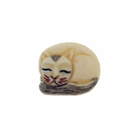 Hand Carved Bone 20mm Sleeping Cat Bead (1PC)