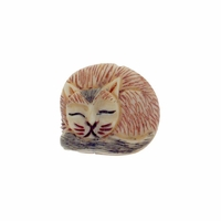 Hand Carved Bone 20mm Sleeping Striped Cat Bead (1PC)