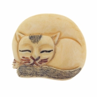 Hand Carved Bone 34mm Sleeping Cat Bead (1PC)