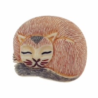 Hand Carved Bone 34mm Sleeping Striped Cat Bead (1PC)
