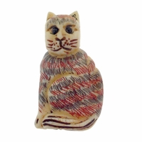 Hand Carved Bone 29mm Sitting Striped Cat Bead (1PC)