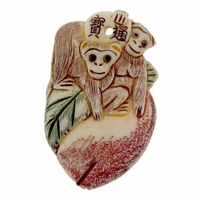 Hand Carved Bone 50mm Monkeys Pendant (1PC)