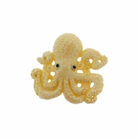 Hand Carved Bone 26mm Octopus Bead (1PC)
