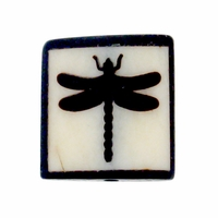 Dragonfly 20mm Square Bone Bead (1PC)