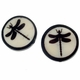 Dragonfly 25mm Flat Round Bone Bead (1PC)