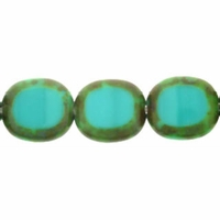 Turquoise Picasso Oval Window 12/14mm Beads (12PK)