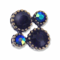 Antiqued Brass Jet and Jet AB Rhinestone 10mm Modern 2 Strand Spacer (1PC)