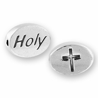Holy with Cross Symbol Sterling Silver Message Bead