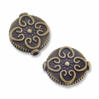 Antiqued Brass Bali Style 14mm Flat Round Bead (5PK)
